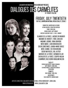 "The summer of 2012 saw Gunda starring in ""Dialouges des Carmelites"" With none other that our great Toril Carlsen"