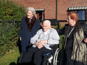 My father-in-law, Johan on his 90th birthday, with his big sisters Helga (left, 92) and Nelly (right, 96)