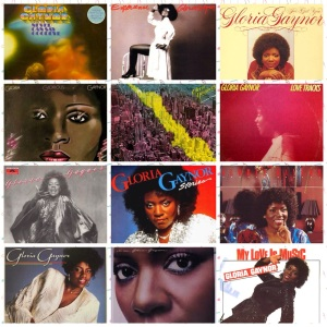 A small collage of covers: all of Gloria Gaynors original albums released 1975-85 (+ one stand-alone single)