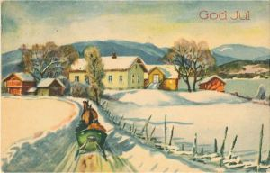 Norwegian seasonal postcard, dating back to the 1940's