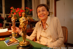 Luise Rainer on her 100th birthday, pictured in her home in London with her 1936 & 1937 Oscars